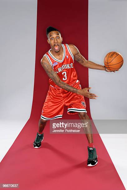 Brandon Jennings of the Milwaukee Bucks and partipant in the Taco Bell Skills Challenge poses for a portrait during AllStar Saturday Night as part of...