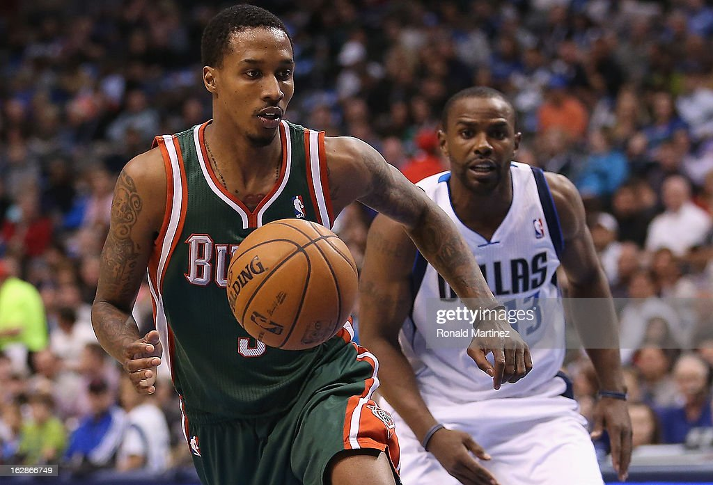 Brandon Jennings #3 of the Milwaukee Bucks at American Airlines Center on February 26, 2013 in Dallas, Texas.