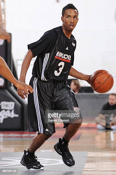 Brandon Jennings of the Milwaukee Bucks handles the ball against the Chicago Bulls during NBA Summer League presented by EA Sports on July 15 2009 at...