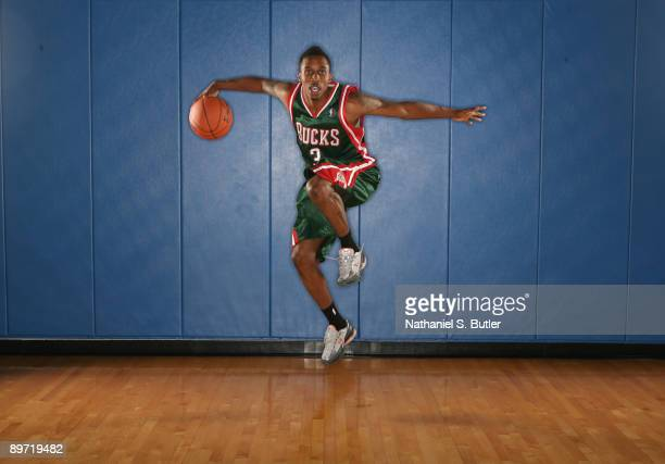 Brandon Jennings of the Milwaukee Bucks poses during the 2009 NBA rookie portrait shoot at the MSG training facility August 9 2009 in Tarrytown New...