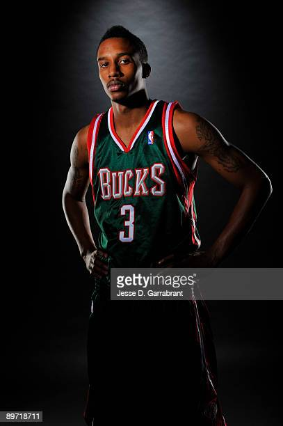 Brandon Jennings of the Milwaukee Bucks poses for a portrait during the 2009 NBA Rookie Photo Shoot on August 9, 2009 at the MSG Training Facility in...