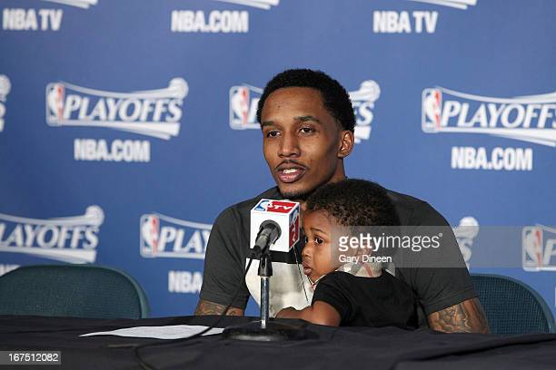 Brandon Jennings of the Milwaukee Bucks speaks during a press conference following his team's loss to the Miami Heat in Game Three of the Eastern...