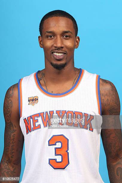 Brandon Jennings of the New York Knicks poses for a head shot during media day at the Ritz Carlton in White Plains New York on September 26 2016 NOTE...