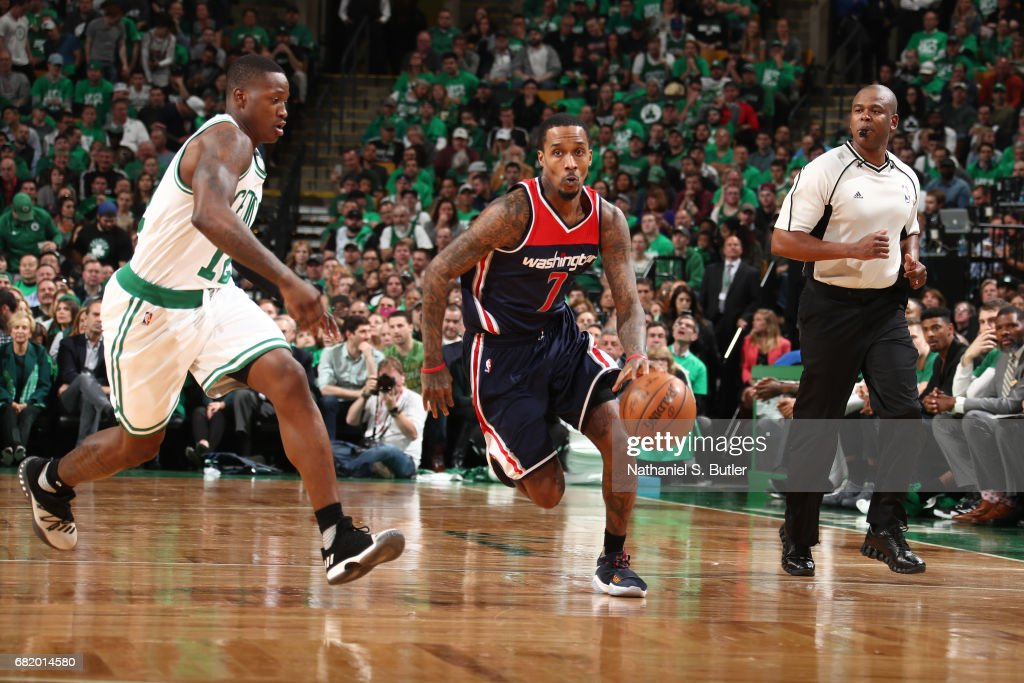 Brandon Jennings #7 of the Washington Wizards dribbles the ball up court against the Boston Celtics in Game Five of the Eastern Conference Semifinals during the 2017 NBA Playoffs on May 10, 2017 at the TD Garden in Boston, Massachusetts.