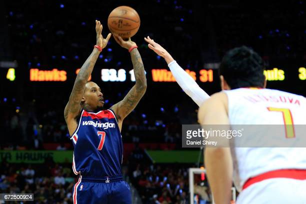 Brandon Jennings of the Washington Wizards shoots a basket during the first quarter against the Atlanta Hawks in Game Four of the Eastern Conference...