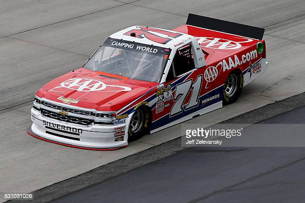 Brandon Jones driver of the AAA Car Care Center Chevrolet practices for the NASCAR Camping World Truck Series at Dover International Speedway on May...
