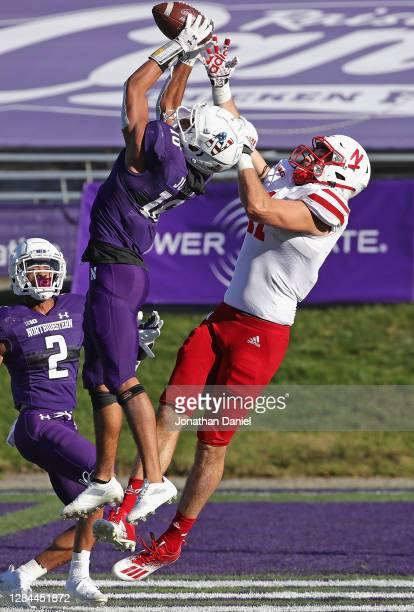 Brandon Joseph of the Northwestern Wildcats incepts a pass in the end zone intended for Austin Allen of the Nebraska Cornhuskers at Ryan Field on...