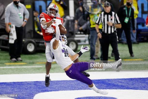 Brandon Joseph of the Northwestern Wildcats intercepts a pass in the end zone intended for Garrett Wilson of the Ohio State Buckeyes in the second...