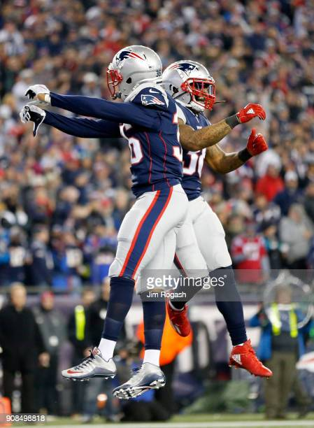 Brandon King and Brandon Bolden of the New England Patriots celebrate after a stop in the fourth quarter against the Jacksonville Jaguars during the...