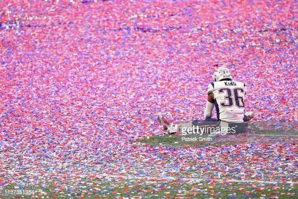 Brandon King of the New England Patriots celebrates after defeating the Los Angeles Ram in Super Bowl LIII at Mercedes-Benz Stadium on February 03,...