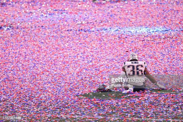 Brandon King of the New England Patriots celebrates after defeating the Los Angeles Ram in Super Bowl LIII at MercedesBenz Stadium on February 03...