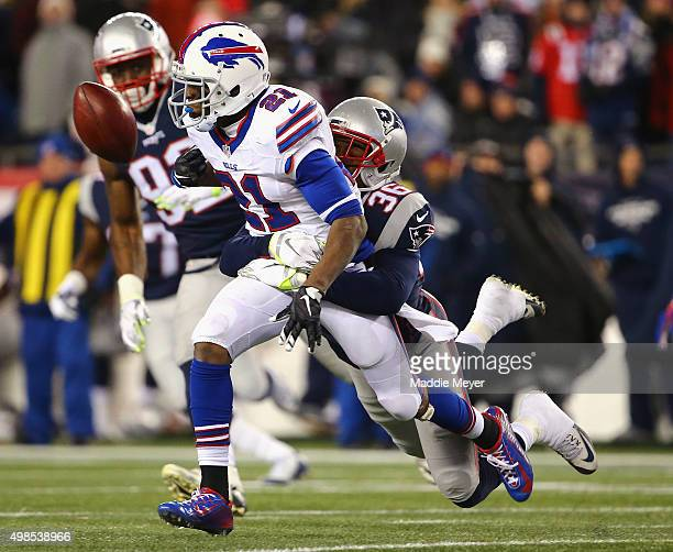 Brandon King of the New England Patriots forces a fumble from Leodis McKelvin of the Buffalo Bills during the fourth quarter at Gillette Stadium on...