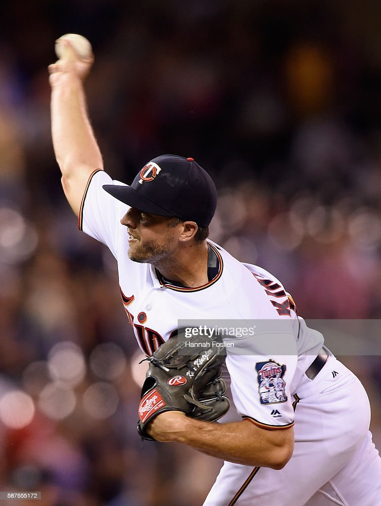 Brandon Kintzler #27 of the Minnesota Twins delivers a pitch against the Houston Astros during the ninth inning of the game on August 8, 2016 at Target Field in Minneapolis, Minnesota. The Twins defeated the Astros 3-1.