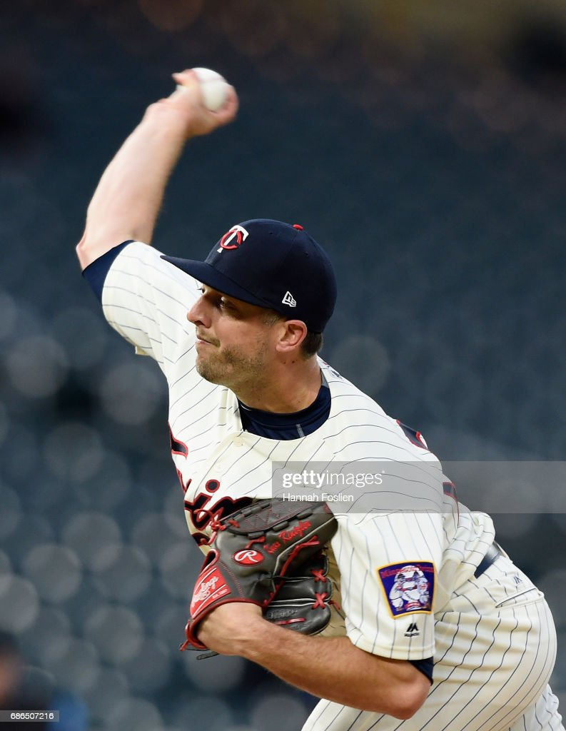 Brandon Kintzler #27 of the Minnesota Twins delivers a pitch against the Kansas City Royals during the ninth inning of game two of a doubleheader on May 21, 2017 at Target Field in Minneapolis, Minnesota. The Twins defeated the Royals 8-4.