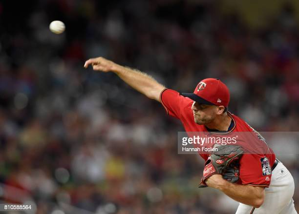 Brandon Kintzler of the Minnesota Twins delivers a pitch against the Baltimore Orioles during the ninth inning of the game on July 7 2017 at Target...