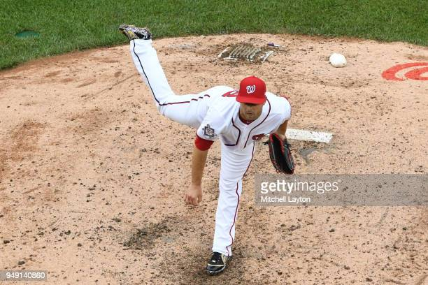 Brandon Kintzler of the Washington Nationals pitches during a baseball game against the Colorado Rockies at Nationals Park on April 15 2018 in...