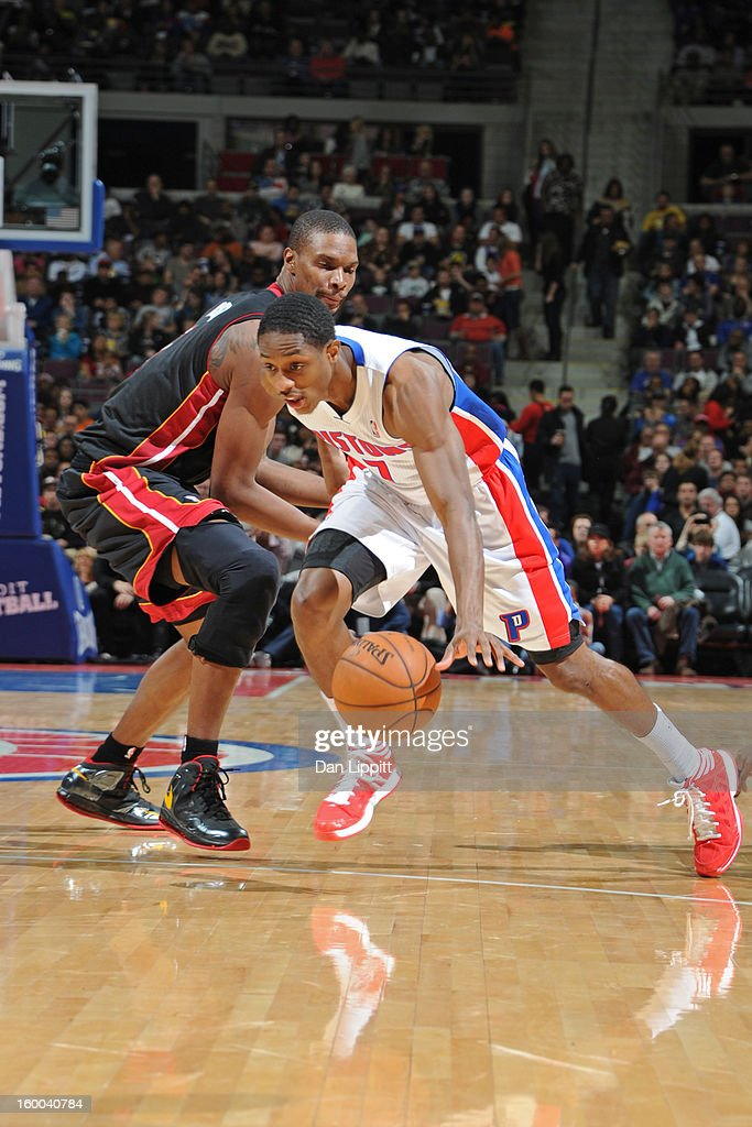 Brandon Knight #7 of the Detroit Pistons brings the ball up court against the Miami Heat on December 28, 2012 at The Palace of Auburn Hills in Auburn Hills, Michigan.
