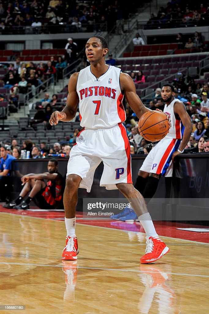 Brandon Knight #7 of the Detroit Pistons controls the ball against the Toronto Raptors on November 23, 2012 at The Palace of Auburn Hills in Auburn Hills, Michigan.