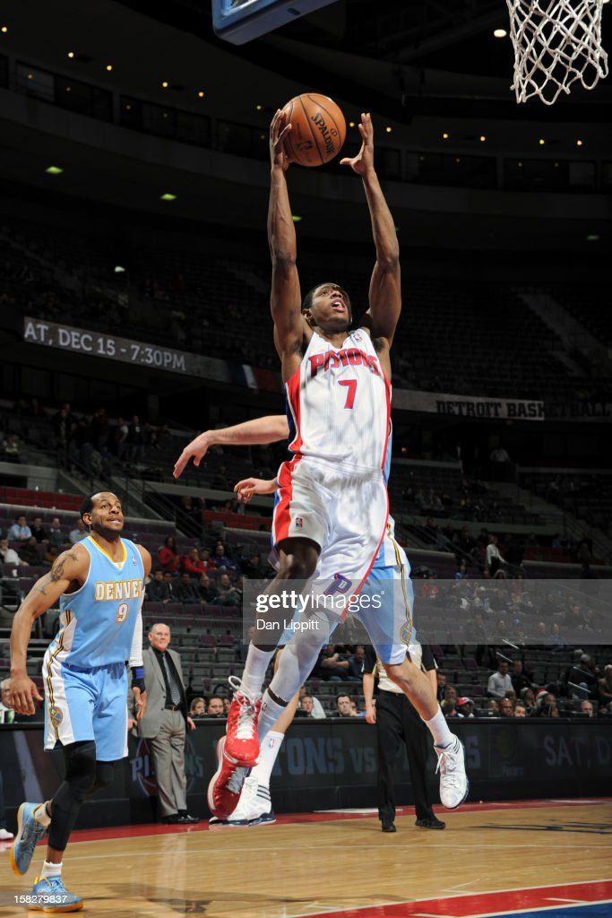Brandon Knight #7 of the Detroit Pistons drives to the basket against the Denver Nuggets on December 11, 2012 at The Palace of Auburn Hills in Auburn Hills, Michigan.