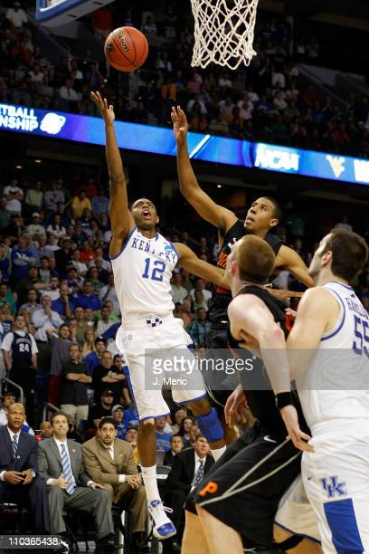 Brandon Knight of the Kentucky Wildcats makes the go ahead basket to give Kentucky a 5957 lead late in the fourth quarter against the Princeton...