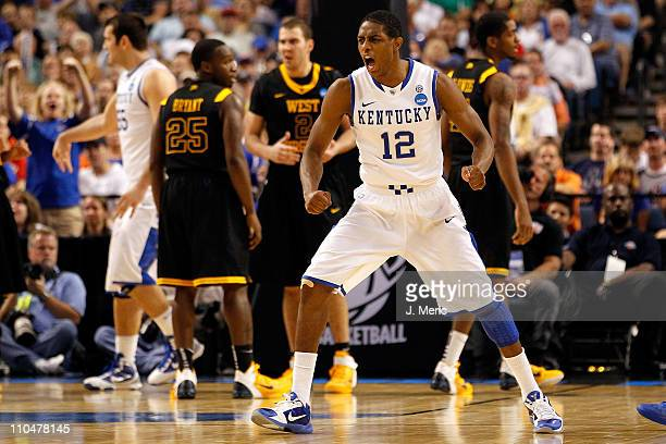 Brandon Knight of the Kentucky Wildcats reacts in the second half against the West Virginia Mountaineers during the third round of the 2011 NCAA...