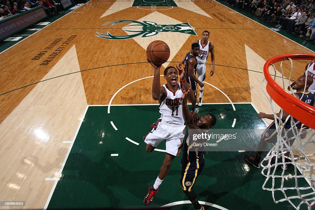 Brandon Knight #11 of the Milwaukee Bucks goes to the basket against the Indiana Pacers on January 2, 2015 at the BMO Harris Bradley Center in Milwaukee, Wisconsin.