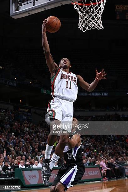 Brandon Knight of the Milwaukee Bucks goes up for a shot against the Sacramento Kings on February 11 2015 at BMO Harris Bradley Center in Milwaukee...