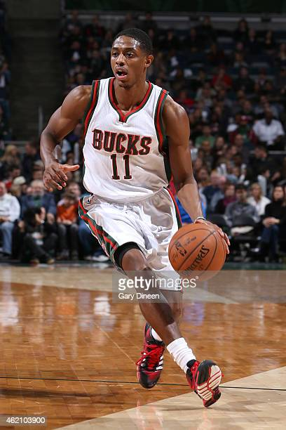Brandon Knight of the Milwaukee Bucks handles the ball against the Detroit Pistons on January 24 2015 at BMO Harris Bradley Center in Milwaukee...