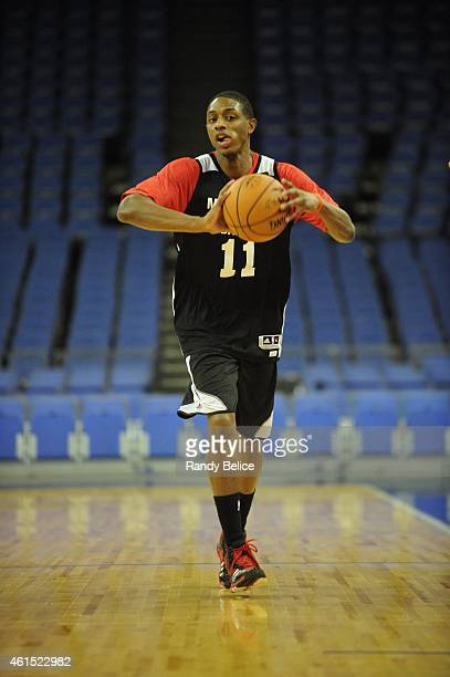 Brandon Knight of the Milwaukee Bucks passes during practice as part of the 2015 Global Games on January 14 2015 at The O2 Arena in London England...