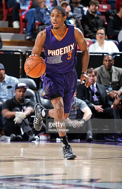 Brandon Knight of the Phoenix Suns brings the ball up the court against the Sacramento Kings on January 2 2016 at Sleep Train Arena in Sacramento...