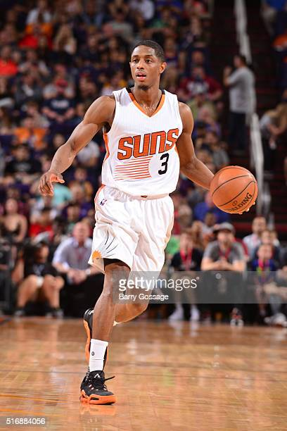 Brandon Knight of the Phoenix Suns drives to the basket against hte Memphis Grizzlies during the game on March 21 2016 at Talking Stick Resort Arena...