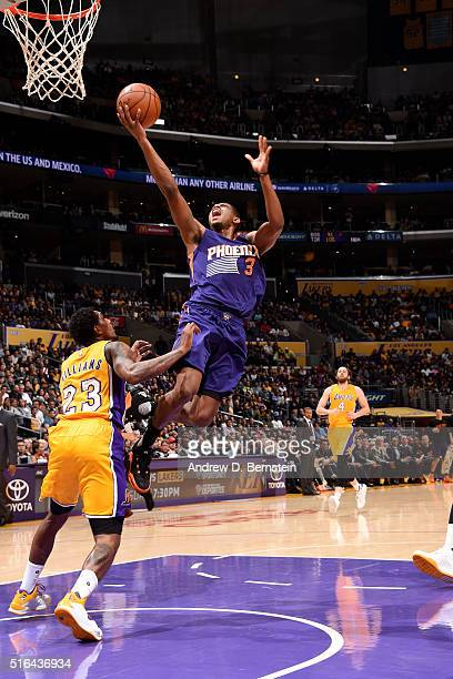 Brandon Knight of the Phoenix Suns goes for a layup during the game against the Los Angeles Lakers on March 18 2016 at STAPLES Center in Los Angeles...