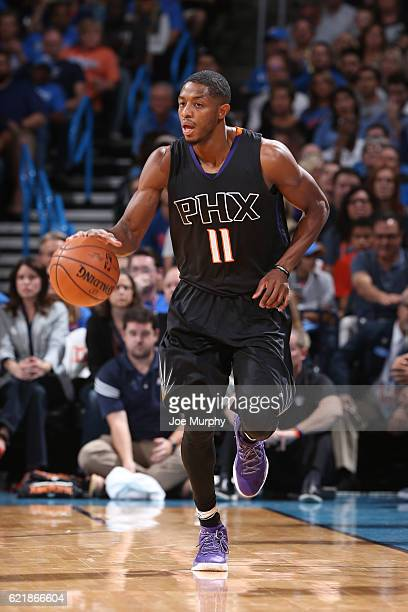 Brandon Knight of the Phoenix Suns handles the ball against the Oklahoma City Thunder on October 28 2016 at the Chesapeake Energy Arena in Oklahoma...