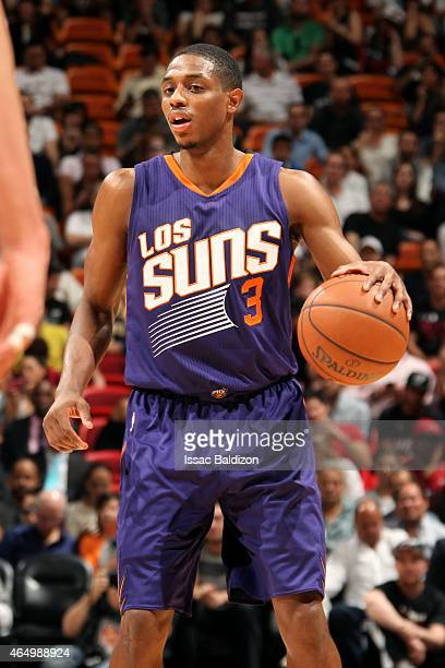 Brandon Knight of the Phoenix Suns handles the ball against the Miami Heat on March 2 2015 at American Airlines Arena in Miami Florida NOTE TO USER...