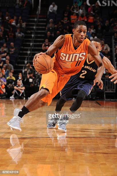 Brandon Knight of the Phoenix Suns handles the ball against the New Orleans Pelicans on December 11 2016 at Talking Stick Resort Arena in Phoenix...