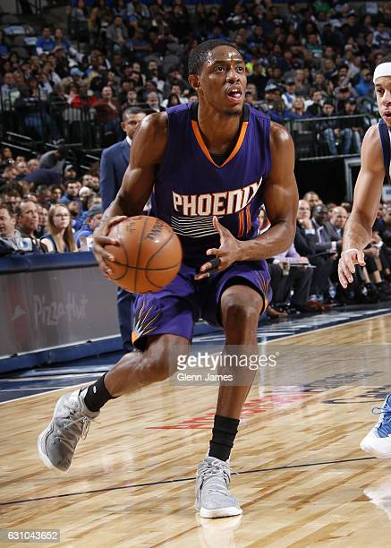 Brandon Knight of the Phoenix Suns handles the ball against the Dallas Mavericks on January 5 2017 at the American Airlines Center in Dallas Texas...