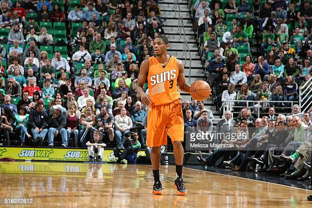 Brandon Knight of the Phoenix Suns handles the ball against the Utah Jazz on March 17 2016 at vivintSmartHome Arena in Salt Lake City Utah NOTE TO...