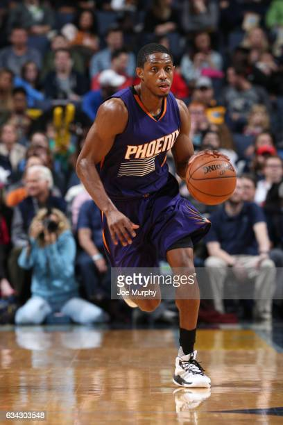 Brandon Knight of the Phoenix Suns handles the ball during a game against the Memphis Grizzlies on February 8 2017 at FedExForum in Memphis Tennessee...