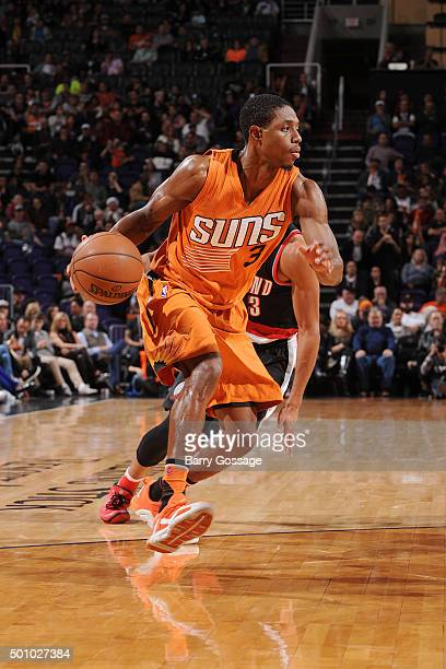 Brandon Knight of the Phoenix Suns handles the ball during the game against the Portland Trail Blazers on December 11 2015 at US Airways Center in...