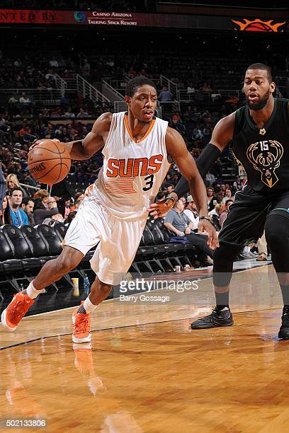 Brandon Knight of the Phoenix Suns handles the ball during the game against the Milwaukee Bucks on December 20 2015 at US Airways Center in Phoenix...