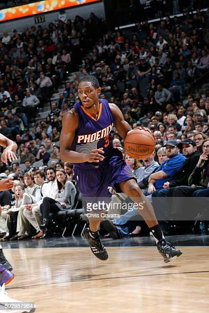 Brandon Knight of the Phoenix Suns handles the ball during the game against the San Antonio Spurs on December 30 2015 at the ATT Center in San...