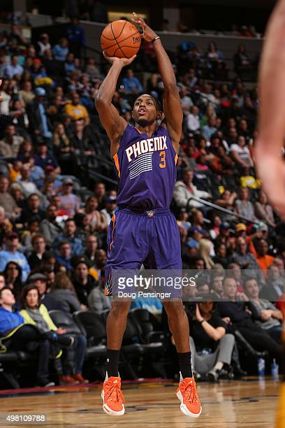 Brandon Knight of the Phoenix Suns takes a shot against the Denver Nuggets at Pepsi Center on November 20 2015 in Denver Colorado The Suns defeated...