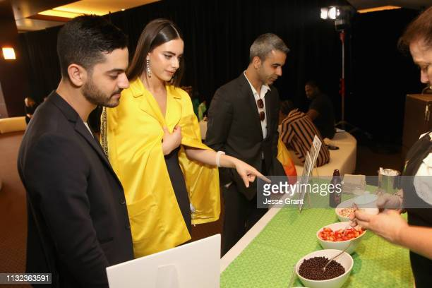 Brandon Korff and Yael Shelbia attend the Pinkberry green room backstage at Nickelodeon's 2019 Kids' Choice on March 23 2019 in Los Angeles California