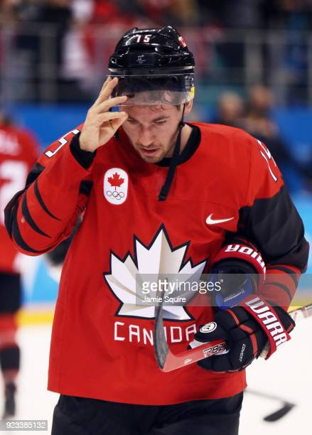Brandon Kozun of Canada reacts after losing to Germany 43 during the Men's Playoffs Semifinals on day fourteen of the PyeongChang 2018 Winter Olympic...