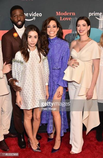 Brandon Kyle Goodman Cristin Milioti Emmy Rossum and Anne Hathaway attend Amazon's Museum Of Modern Love on October 10 2019 in New York City