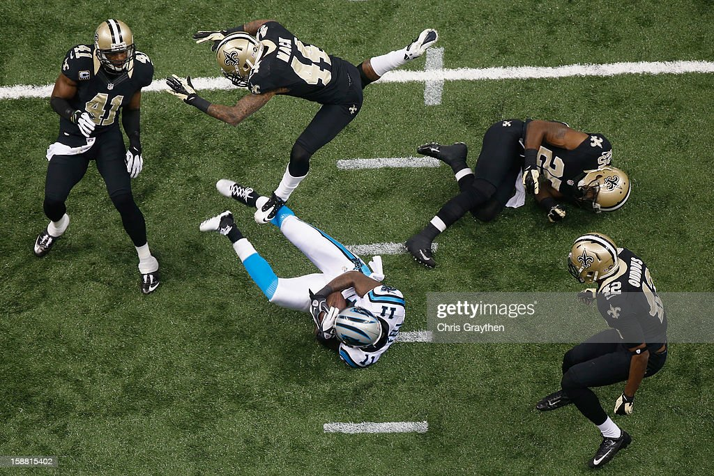 Brandon LaFell #11 of the Carolina Panthers makes a reception against the New Orleans Saints at the Mercedes-Benz Superdome on December 30, 2012 in New Orleans, Louisiana.
