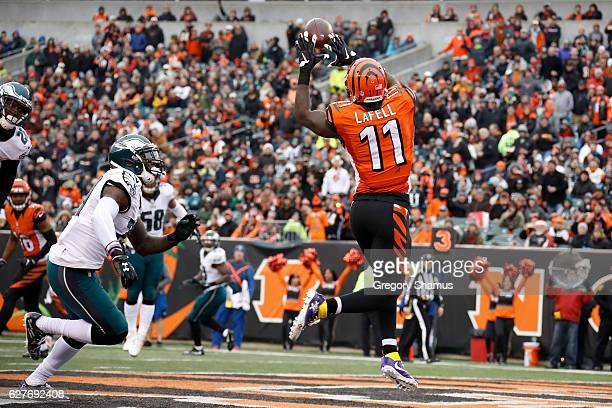 Brandon LaFell of the Cincinnati Bengals catches a pass for a touchdown over the defense of Malcolm Jenkins of the Philadelphia Eagles during the...