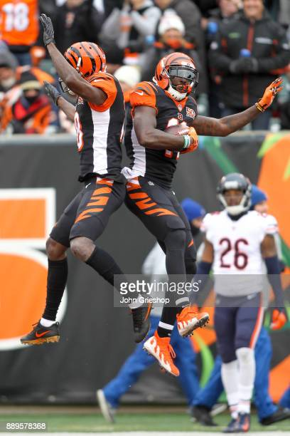 Brandon LaFell of the Cincinnati Bengals celebrates with AJ Green after a touchdown against the Chicago Bears during the first half at Paul Brown...