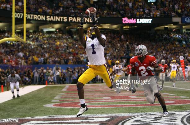 Brandon LaFell of the Louisiana State University Tigers hauls in a 10yard touchdown pass in front of Malcolm Jenkins of the Ohio State Buckeyes...