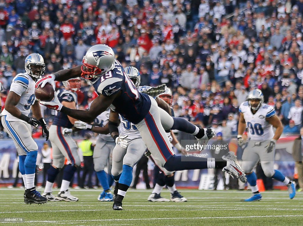 Brandon LaFell #19 of the New England Patriots catches a pass during the fourth quarter against the Detroit Lions at Gillette Stadium on November 23, 2014 in Foxboro, Massachusetts.